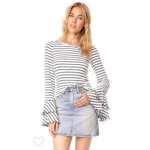 Free People Womens Good Find Top Stripe Grey NWOT